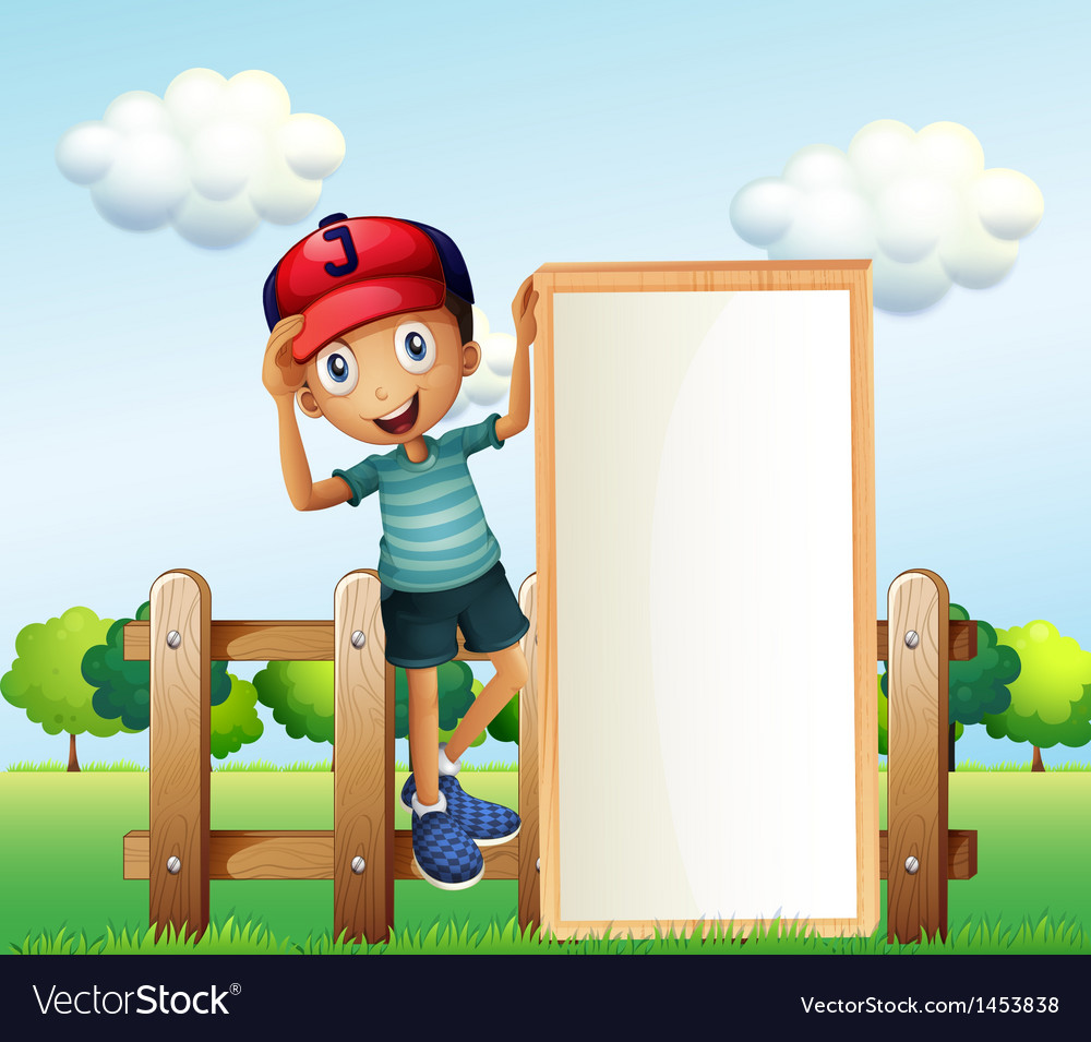 A boy standing at the fence wearing a cap holding vector | Price: 1 Credit (USD $1)