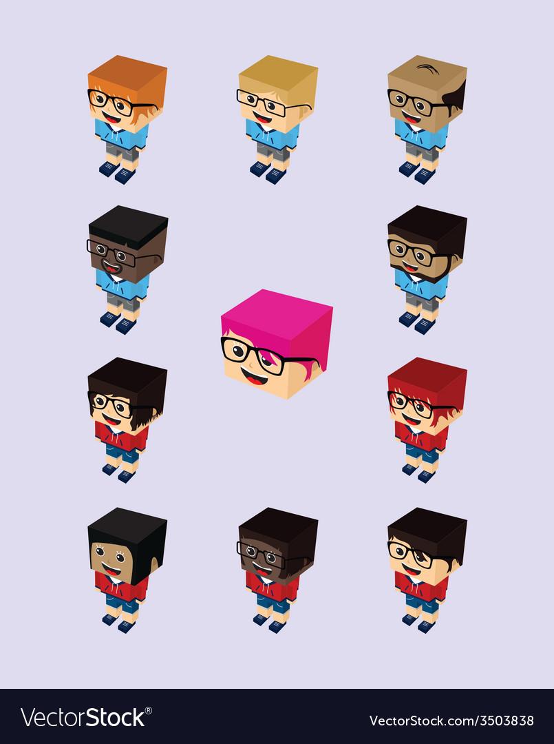Block isometric cartoon character vector   Price: 1 Credit (USD $1)