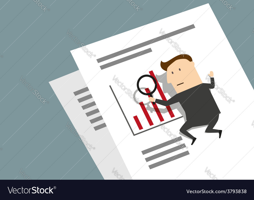 Businessman analyzing a graph with a magnifier vector | Price: 1 Credit (USD $1)