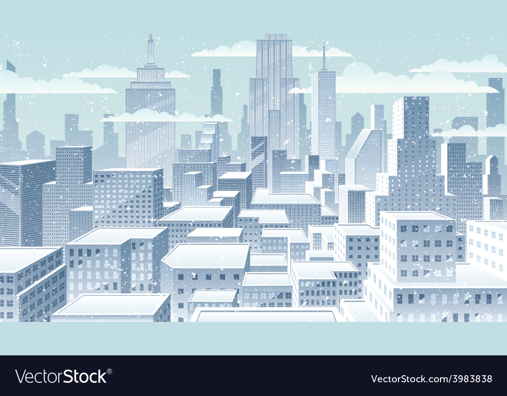 Cityscape winter vector | Price: 3 Credit (USD $3)