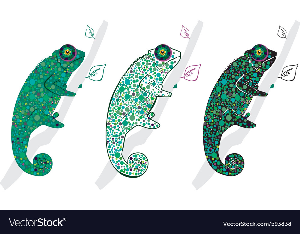 Cute chameleons vector | Price: 1 Credit (USD $1)