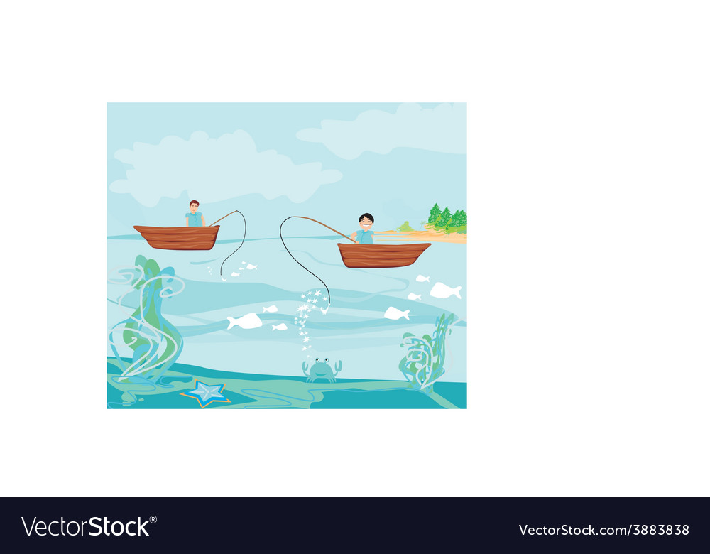 Fishermen and fishing boat vector | Price: 1 Credit (USD $1)