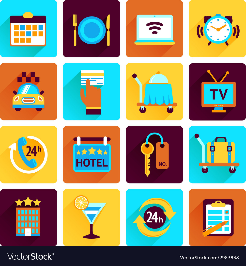Hotel icons flat set vector | Price: 1 Credit (USD $1)