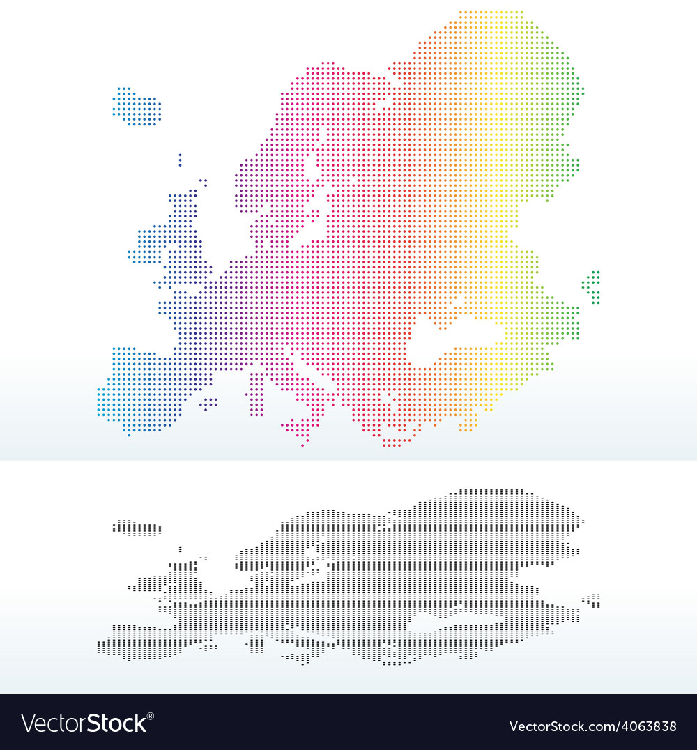 Map of continent of europe with dot pattern vector | Price: 1 Credit (USD $1)