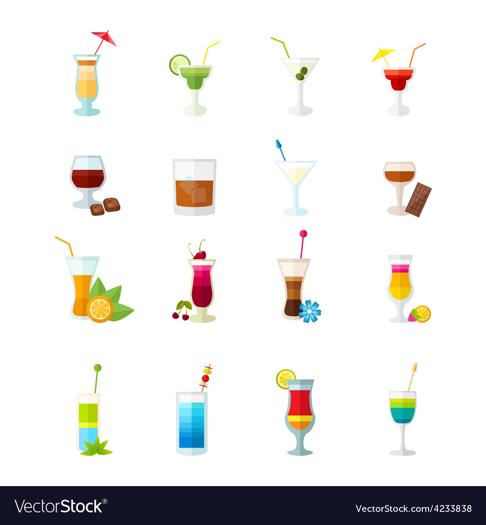 Multicolored cocktail icons set vector | Price: 1 Credit (USD $1)