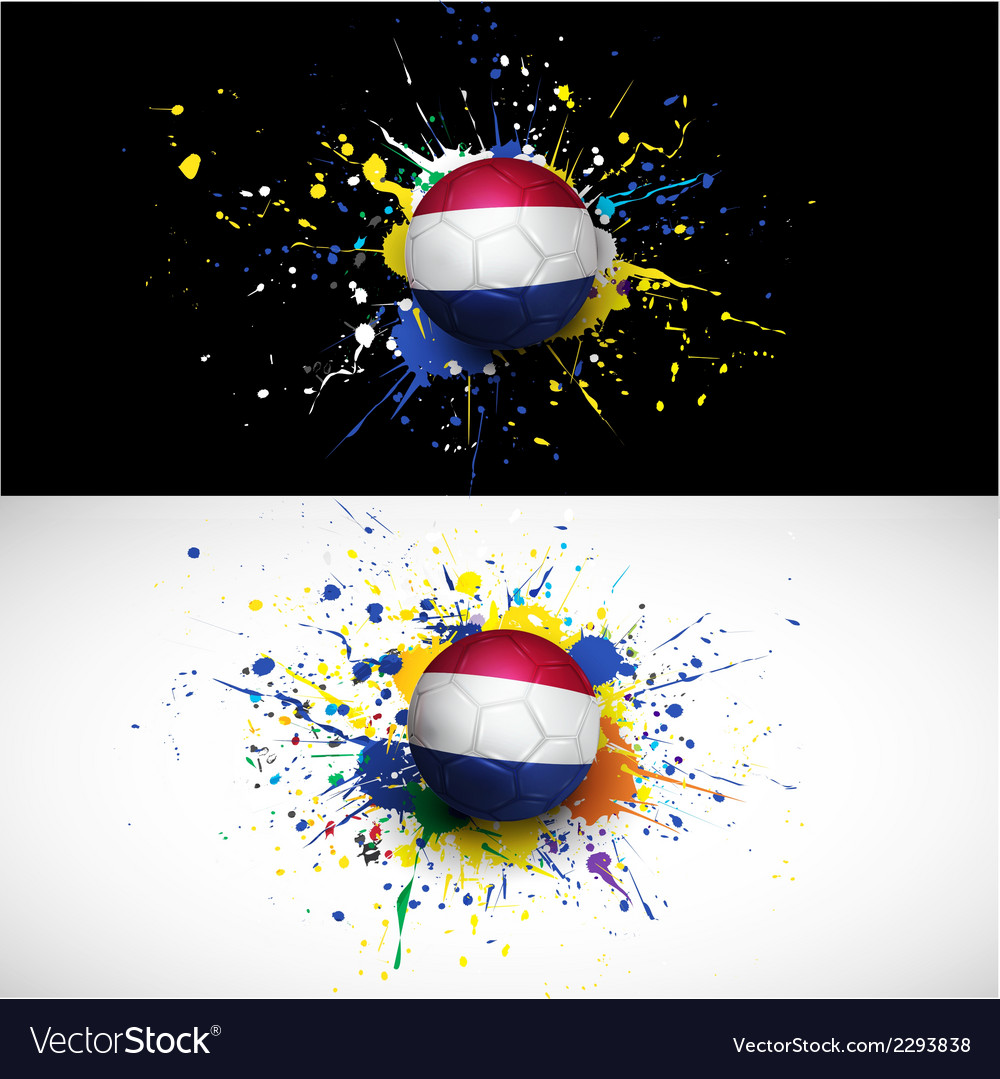 Netherlands flag with soccer ball dash on colorful vector | Price: 1 Credit (USD $1)