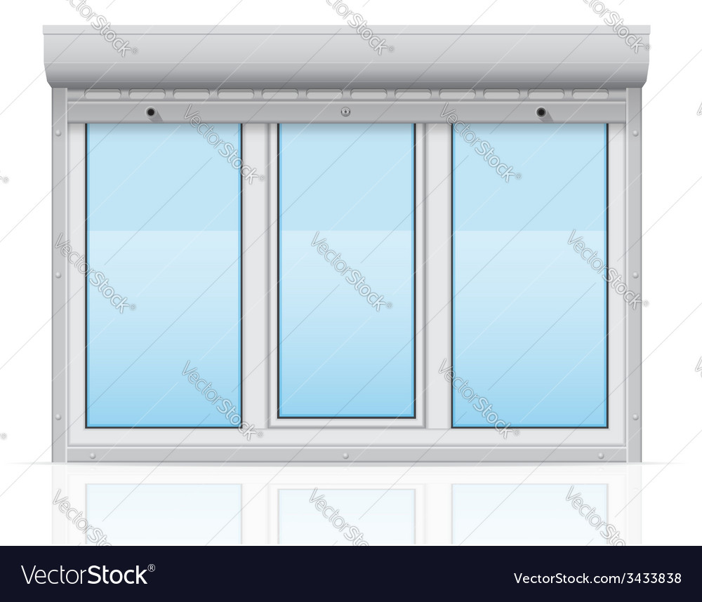 Plastic window behind metal perforated rolling vector   Price: 1 Credit (USD $1)