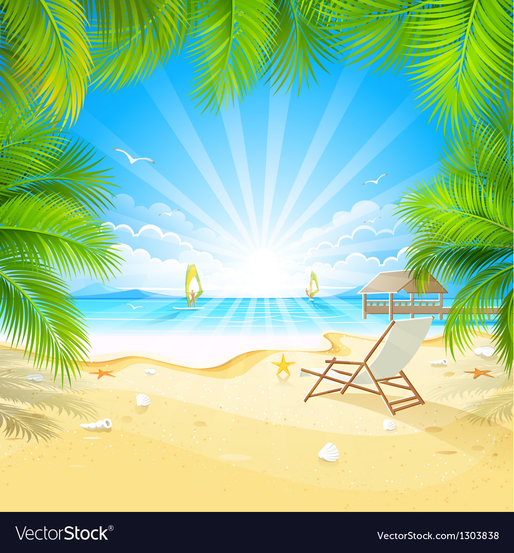 Relax on a tropical island vector | Price: 3 Credit (USD $3)