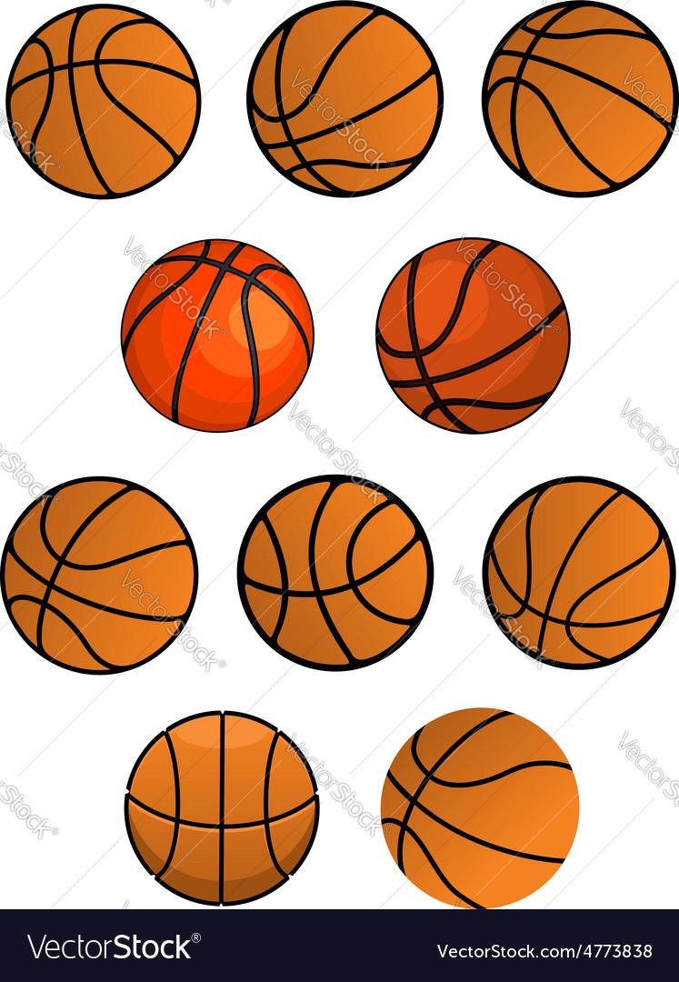 Set of orange rubber basketball balls vector | Price: 1 Credit (USD $1)