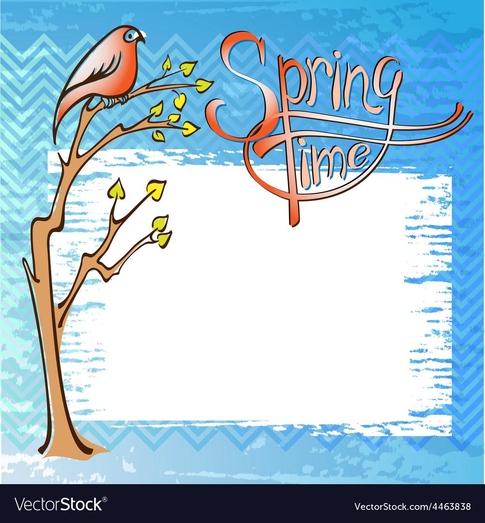 Springtime card with a bird vector | Price: 1 Credit (USD $1)