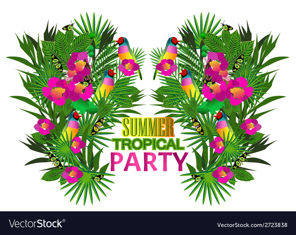 Tropical flowers and leaves and beautiful bird vector | Price: 1 Credit (USD $1)