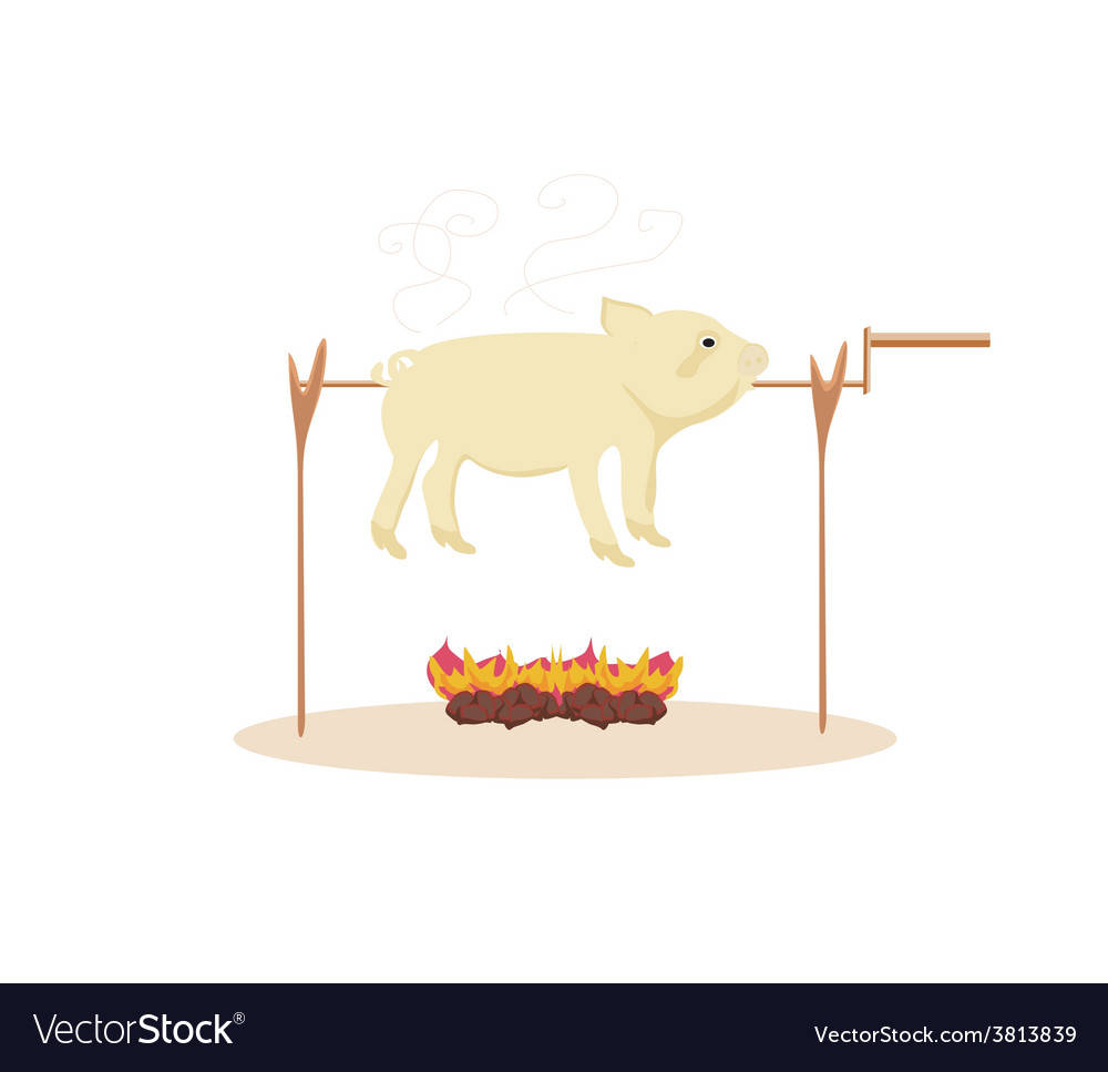 An image of a roasted pig vector | Price: 1 Credit (USD $1)