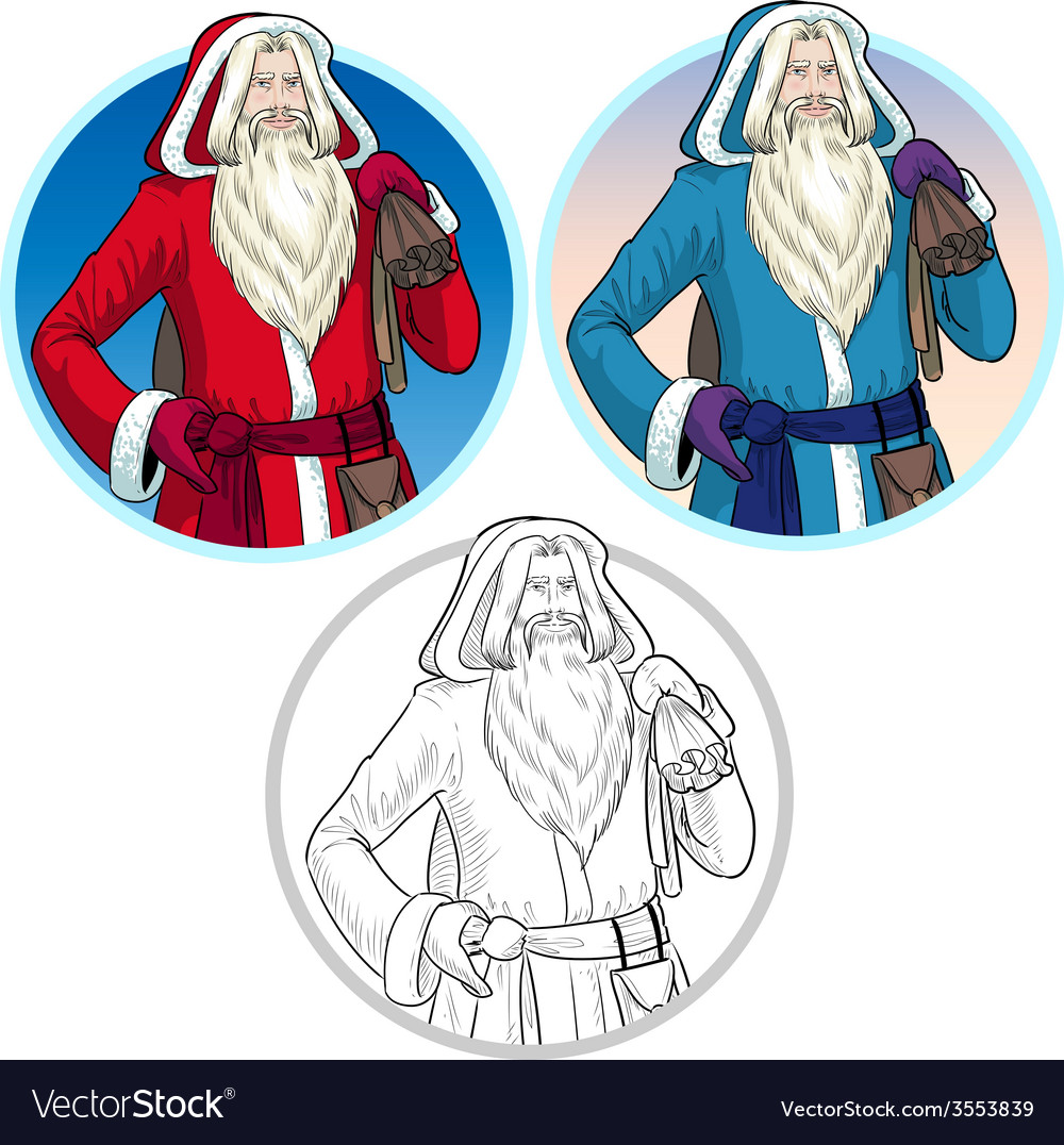 Christmas characters father frost and pere noel vector | Price: 1 Credit (USD $1)