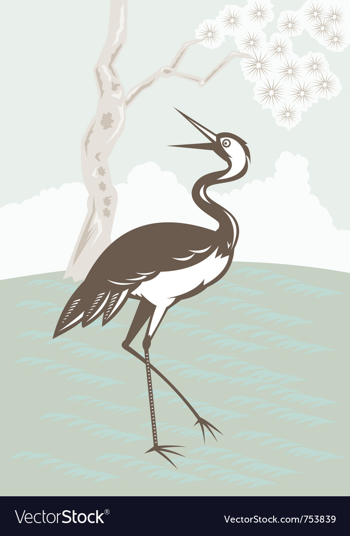 Crane looking up with tree vector | Price: 1 Credit (USD $1)