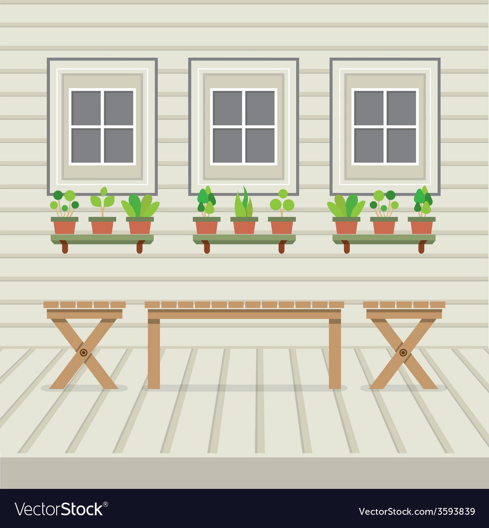 Empty three benches on wood wall and ground with vector | Price: 1 Credit (USD $1)
