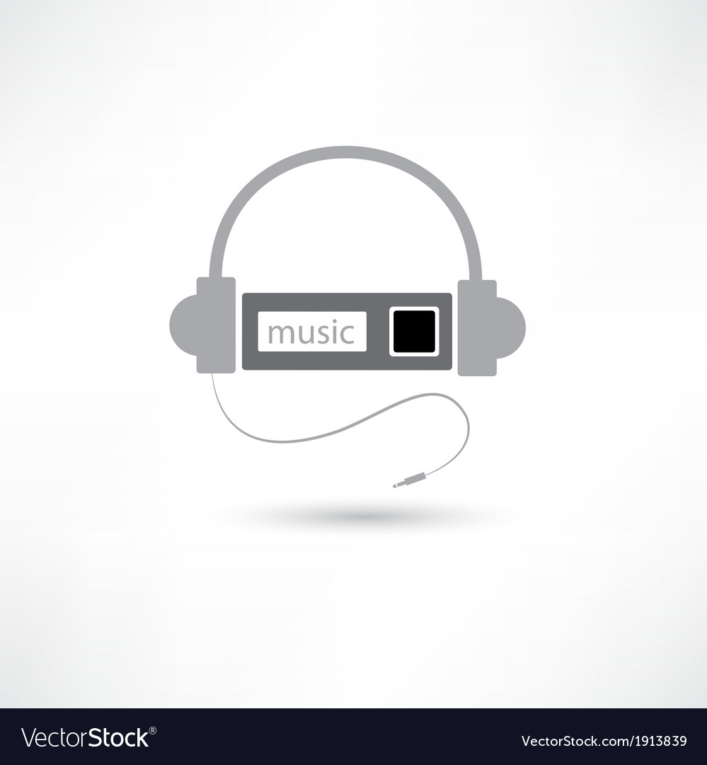 Grey headphones and mp3 player vector | Price: 1 Credit (USD $1)