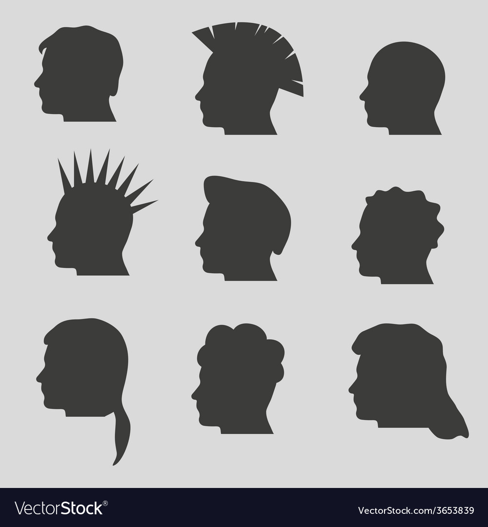 Nine types of man hair styles head silhouettes vector | Price: 1 Credit (USD $1)