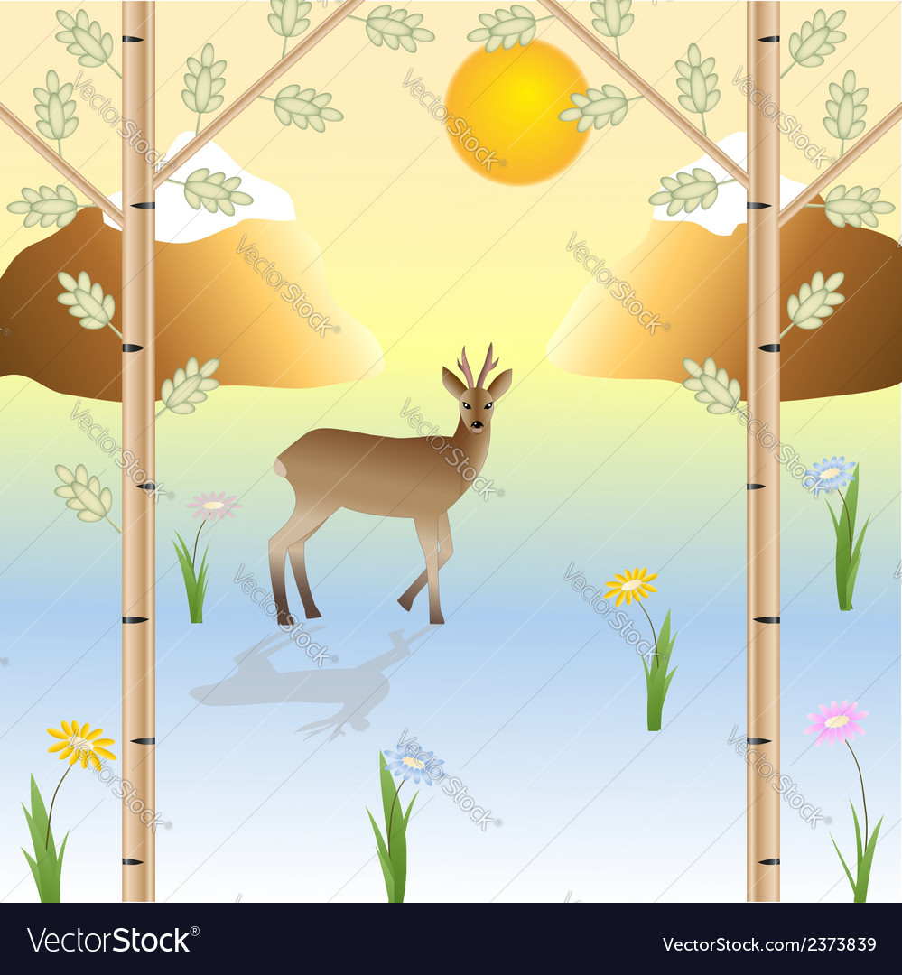 The roe in the wild nature vector | Price: 1 Credit (USD $1)