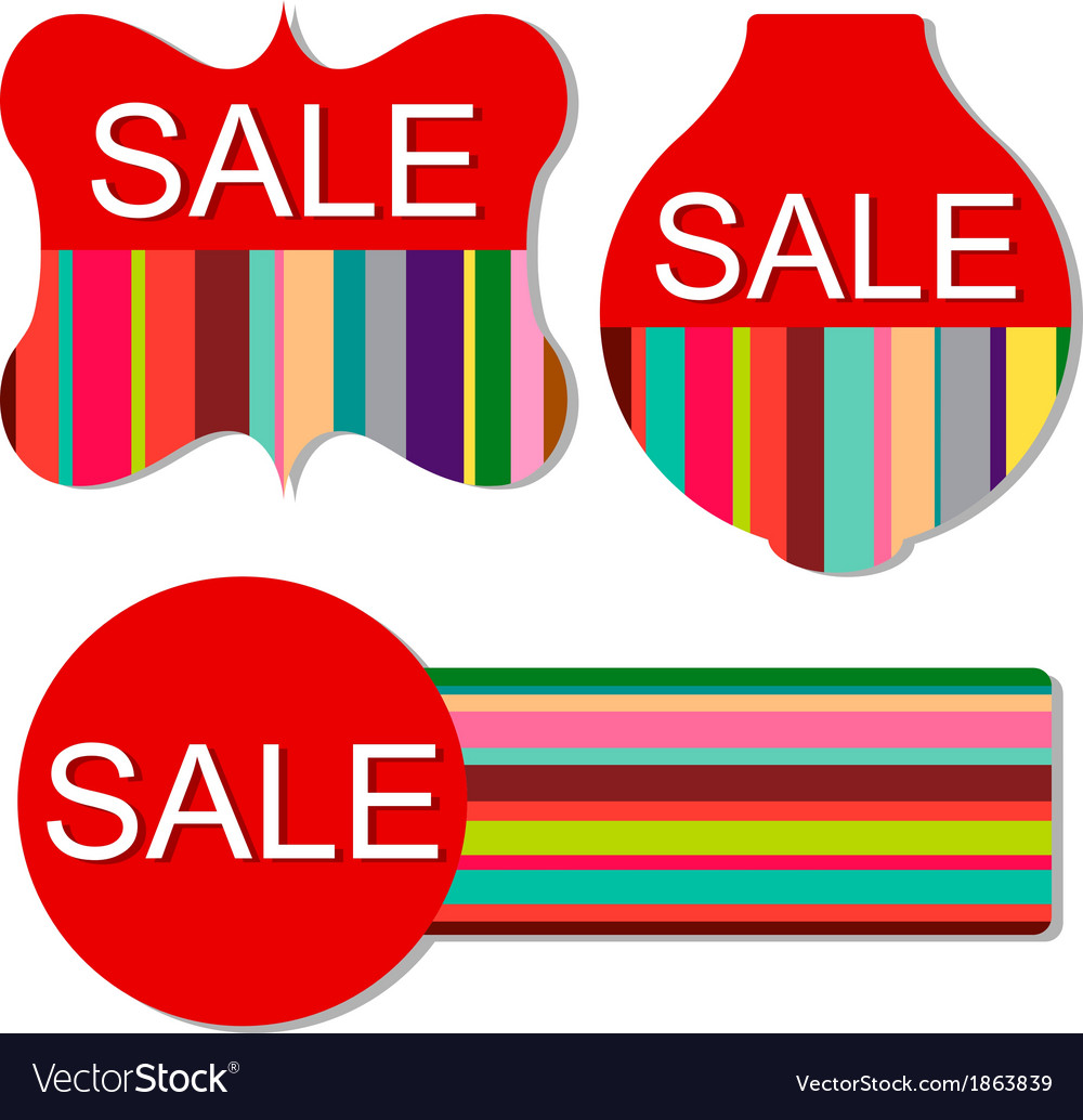 Set of colorful sale tags vector | Price: 1 Credit (USD $1)