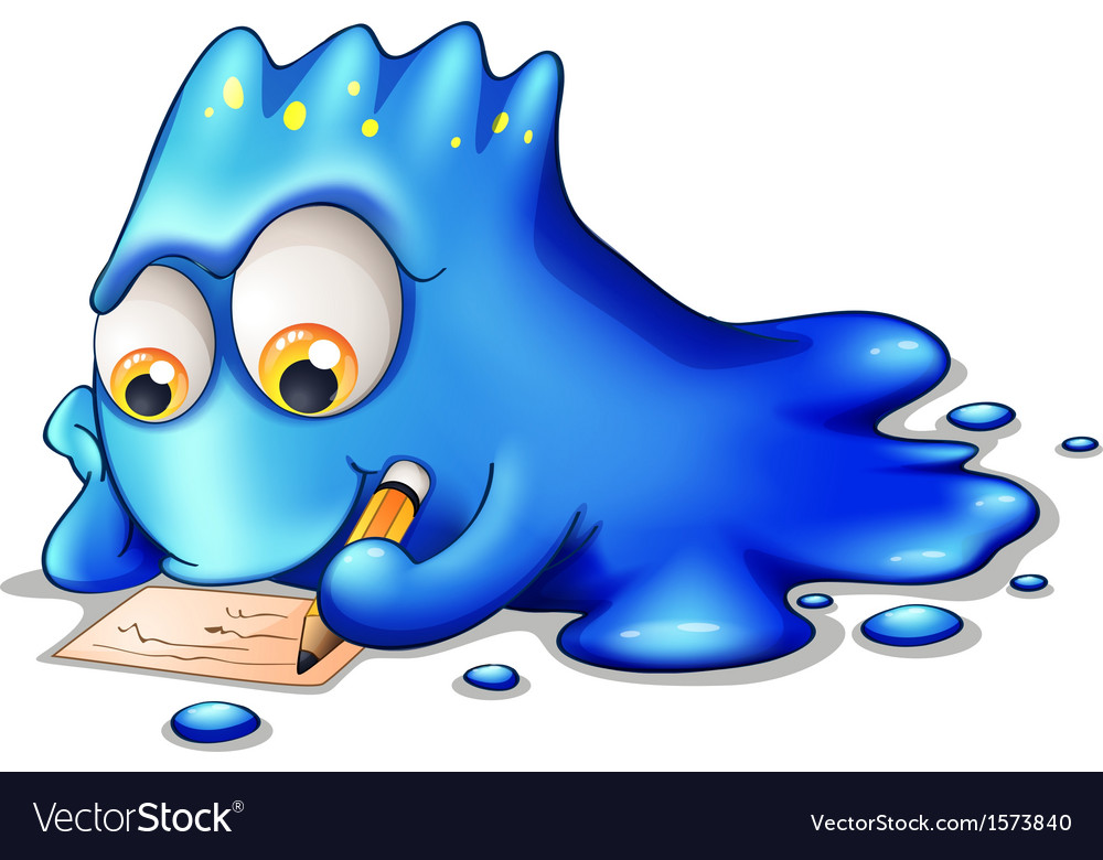 A blue monster writing vector