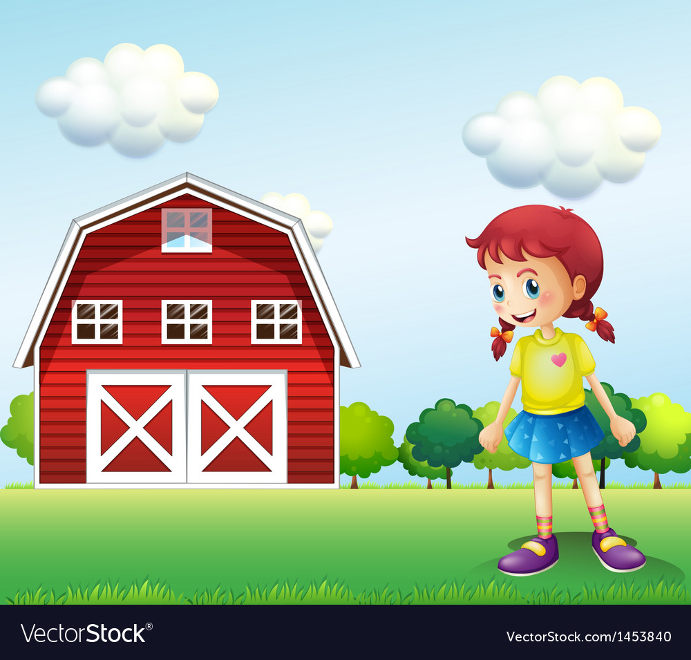 A little girl in the barn vector | Price: 1 Credit (USD $1)
