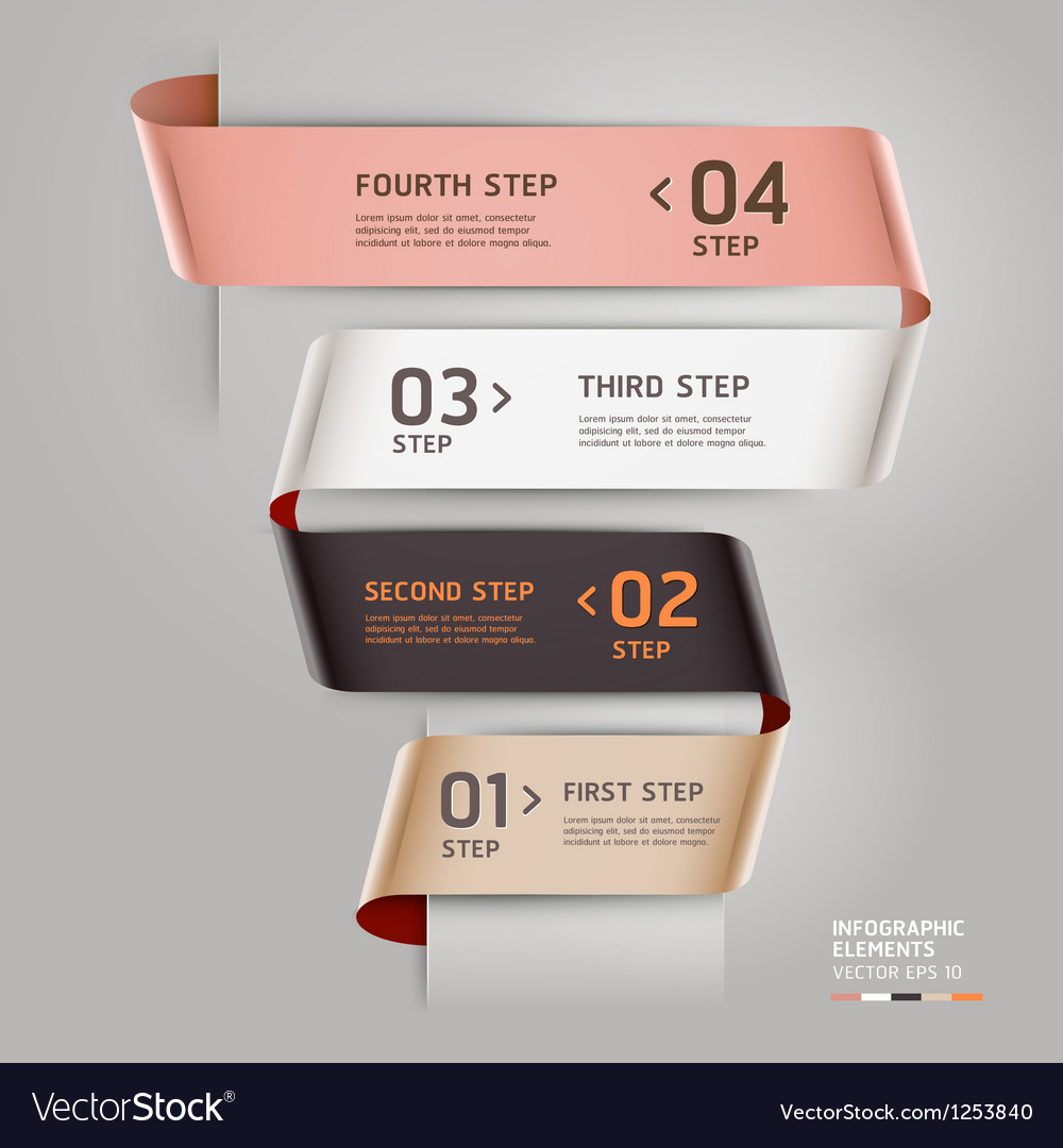 Abstract ribbon style infographics template vector | Price: 1 Credit (USD $1)