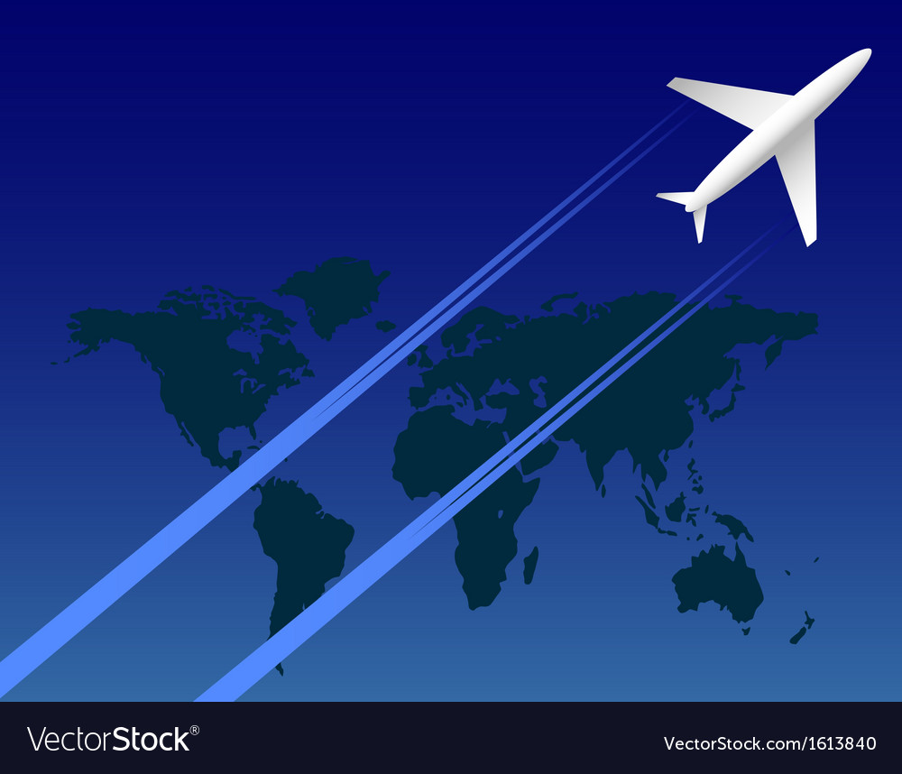 Airplane on sky and map vector | Price: 1 Credit (USD $1)