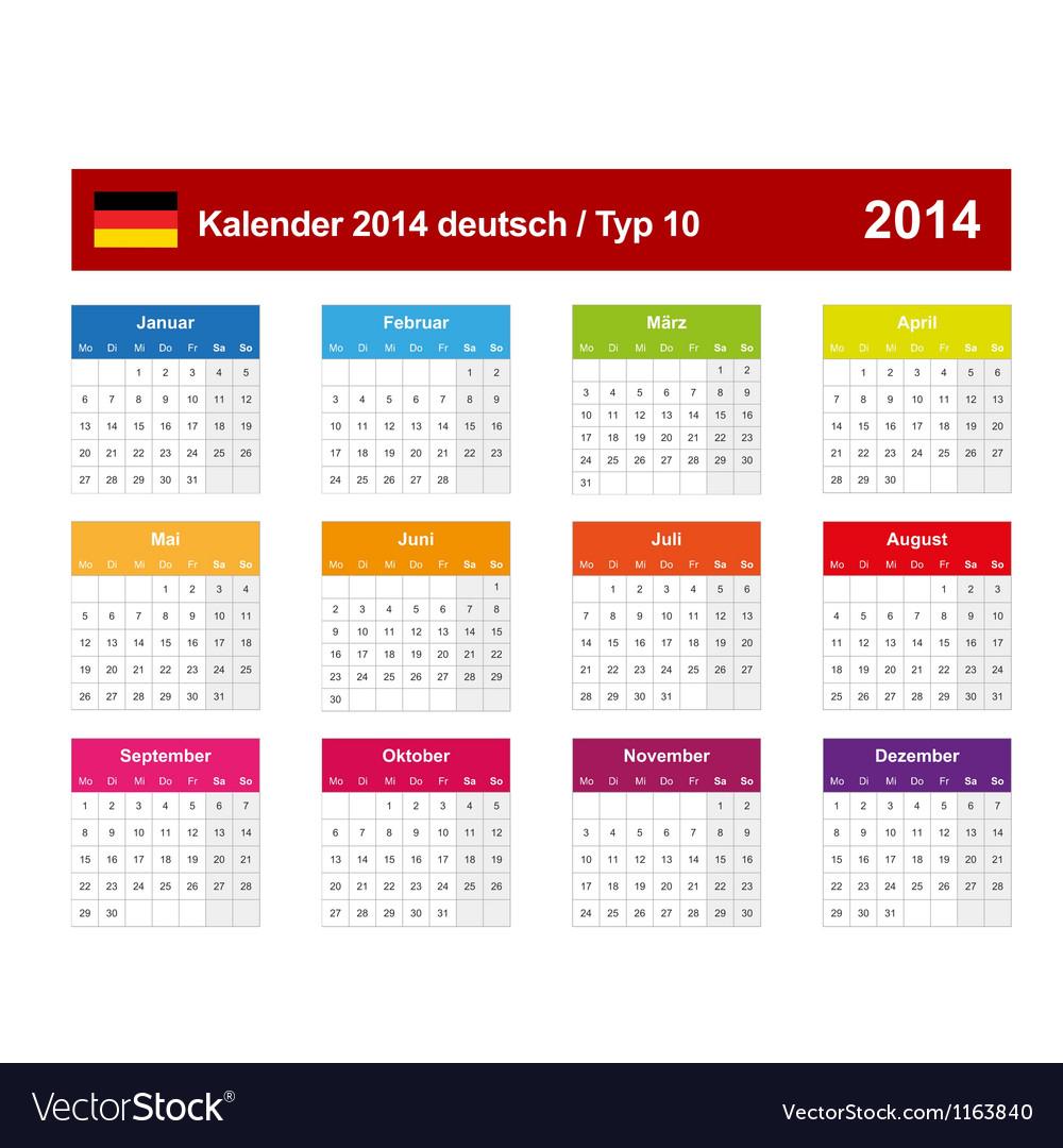 Calendar 2014 german type 10 vector | Price: 1 Credit (USD $1)