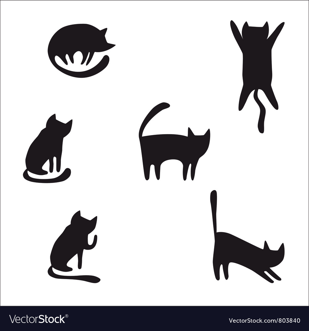 Cat silhouettes vector | Price: 1 Credit (USD $1)