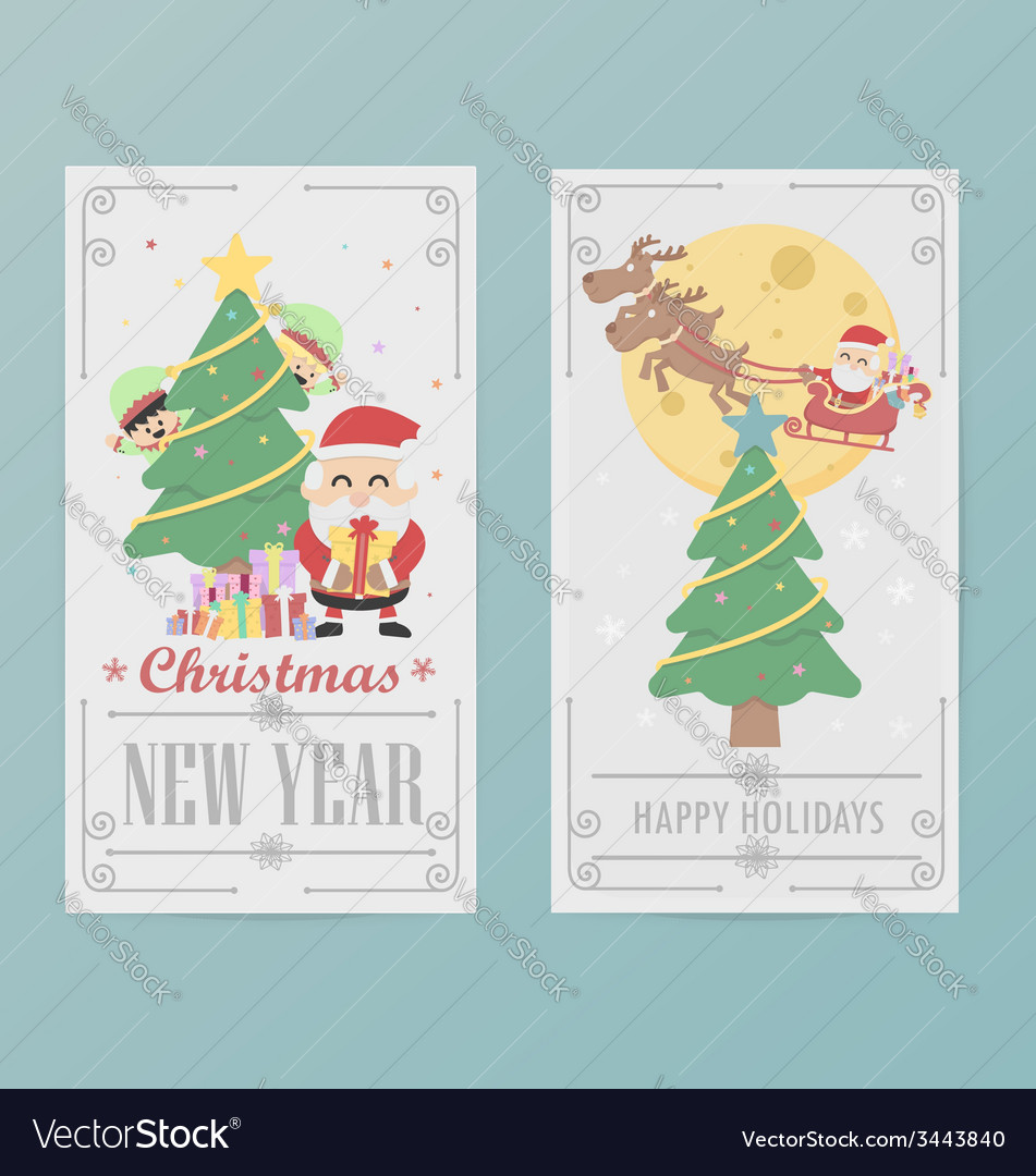 Christmas card design layout template b vector | Price: 1 Credit (USD $1)