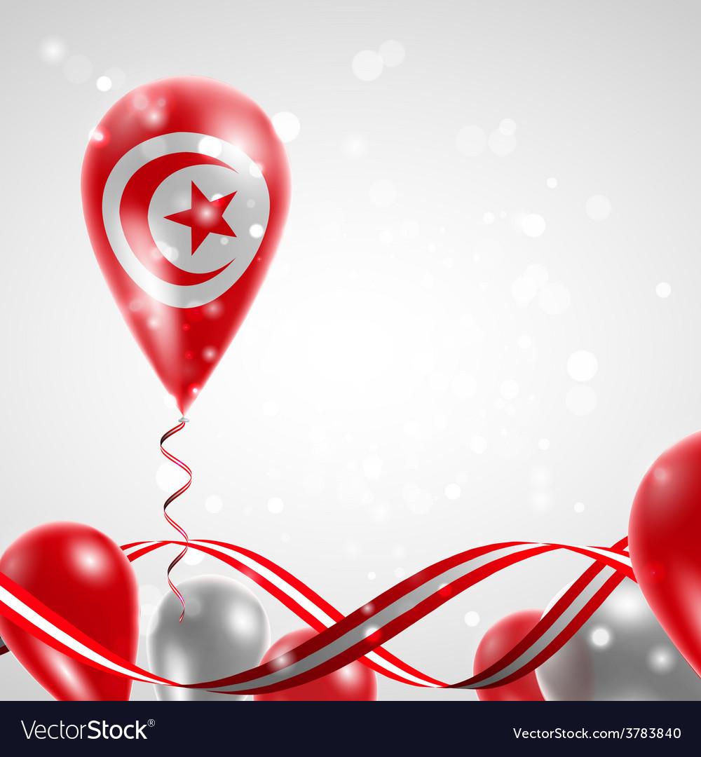 Flag of tunisia on balloon vector | Price: 3 Credit (USD $3)