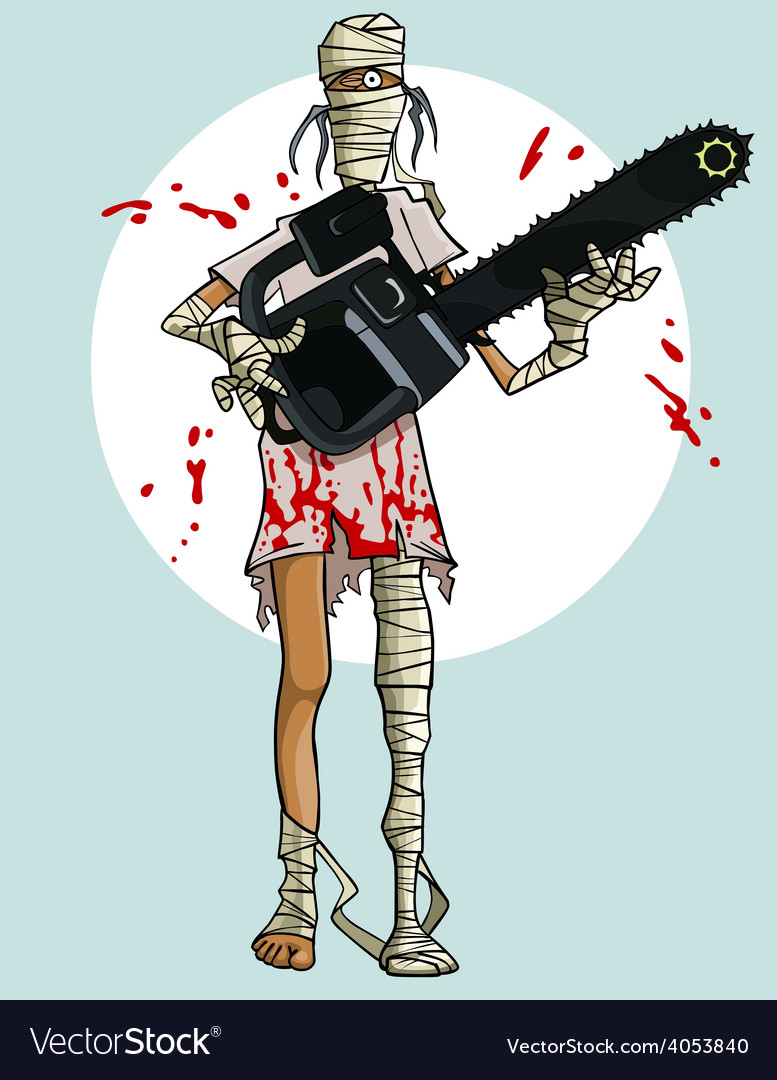Funny cartoon mummy with a chainsaw in the blood vector | Price: 3 Credit (USD $3)