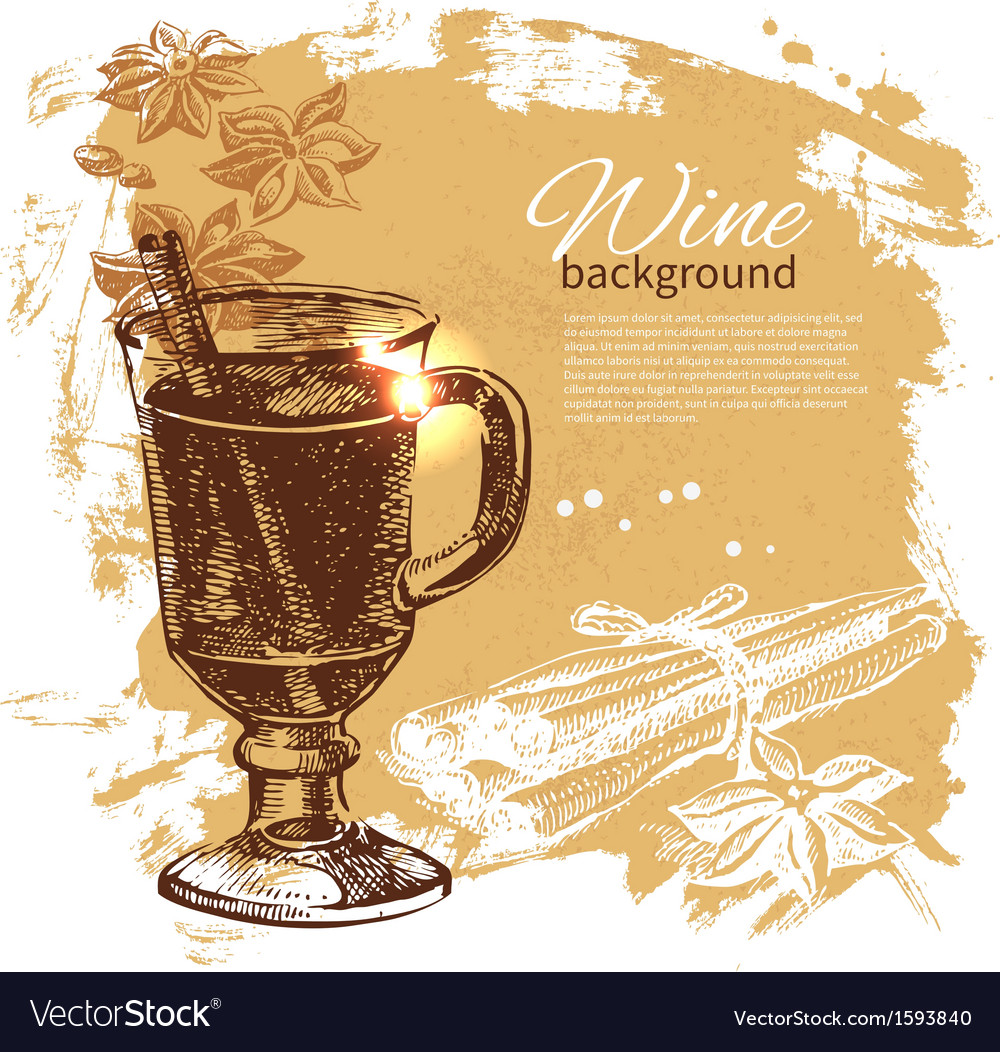 Hand drawn mulled vintage background vector | Price: 1 Credit (USD $1)