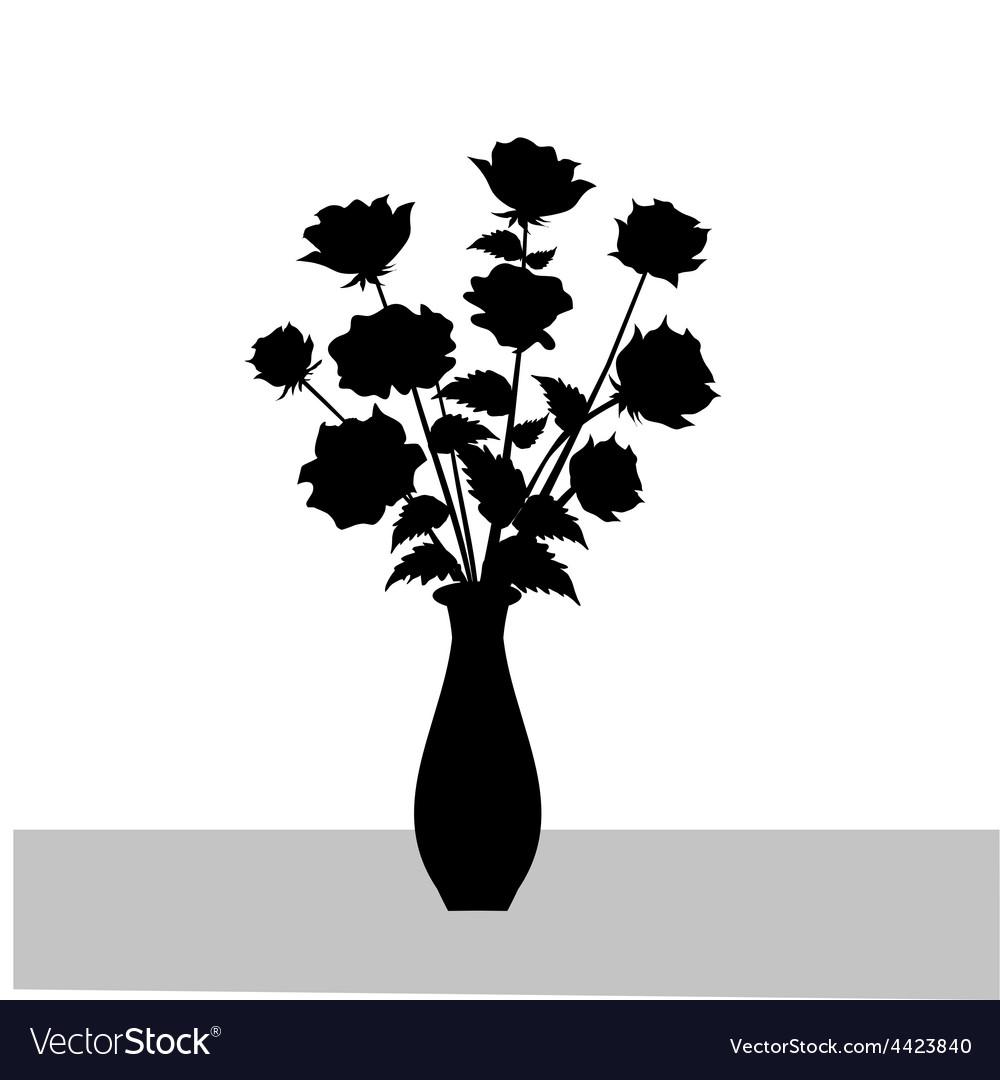Rose flower vase silhouette vector | Price: 1 Credit (USD $1)