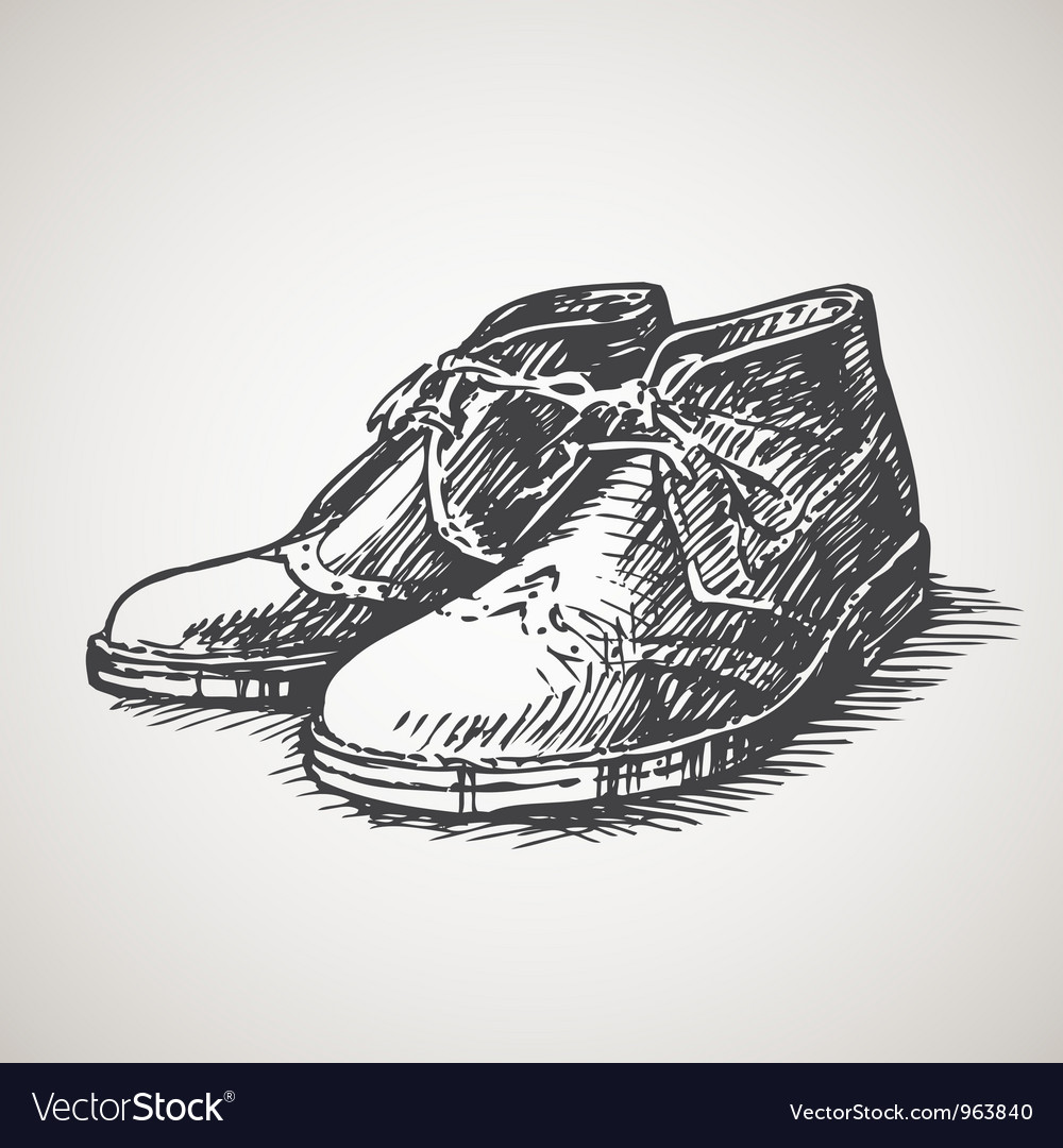 Sketched vintage desert boots vector | Price: 1 Credit (USD $1)
