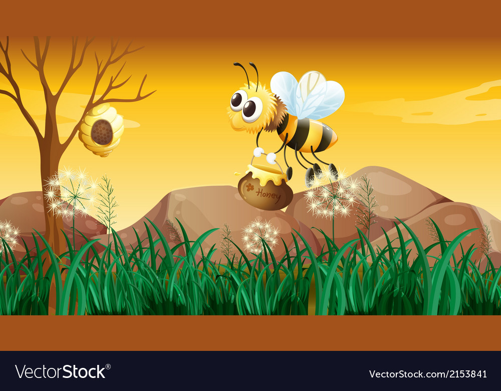 A bee flying going to the beehive vector | Price: 3 Credit (USD $3)