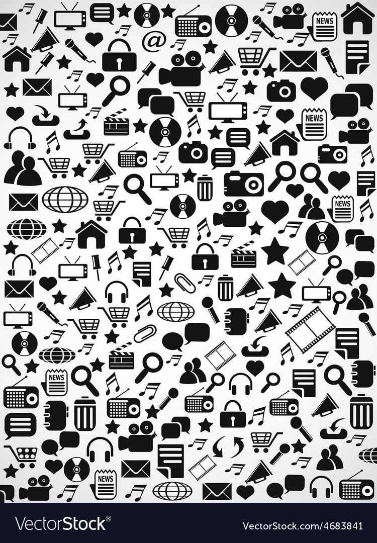 Black seamless web icons pattern background vector