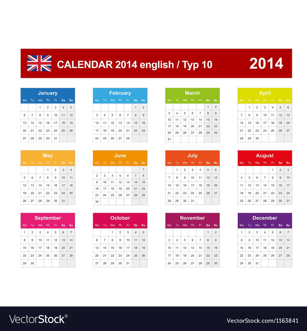 Calendar 2014 english type 10 vector | Price: 1 Credit (USD $1)