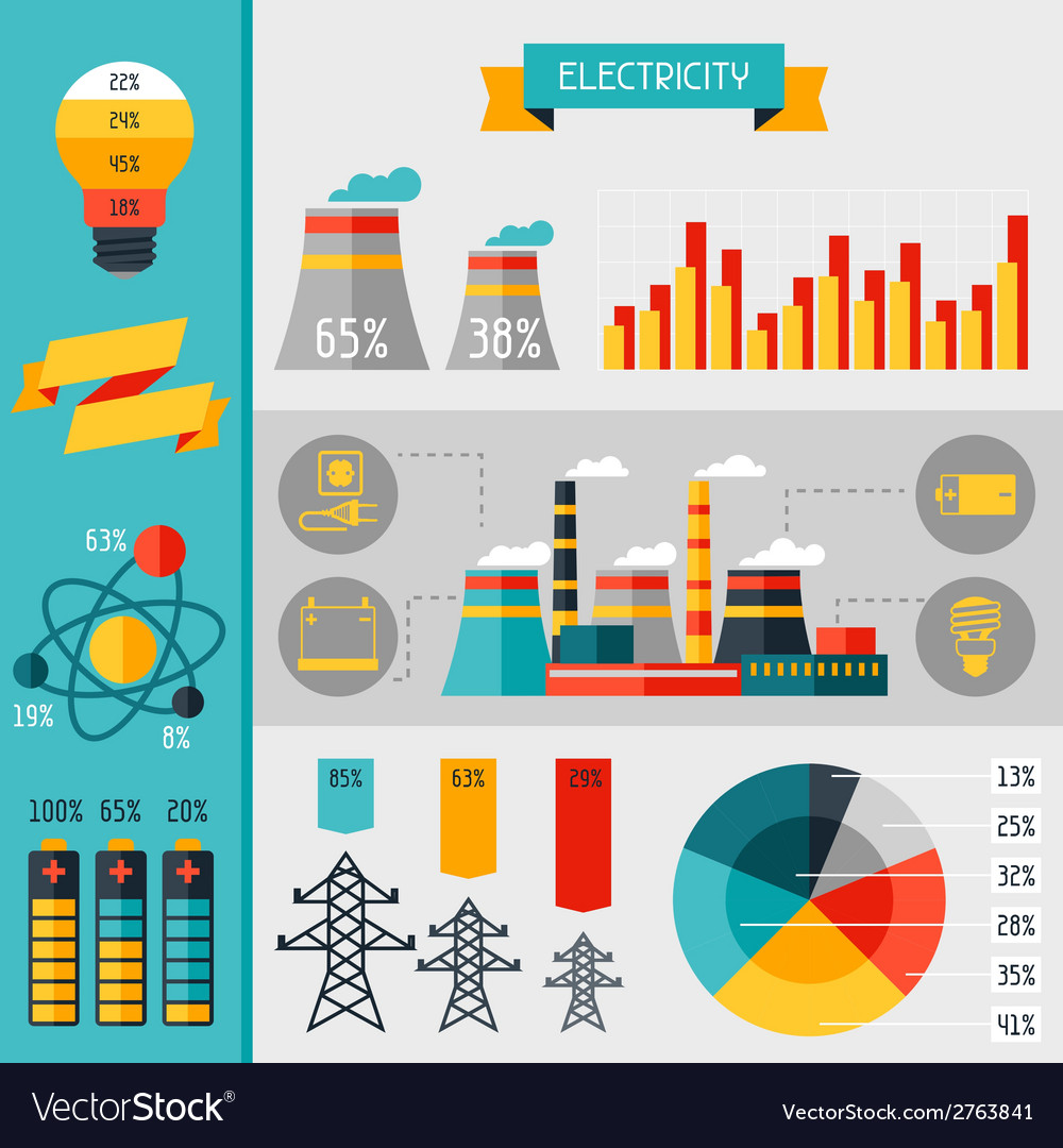 Electricity set of industry power infographic in vector | Price: 1 Credit (USD $1)
