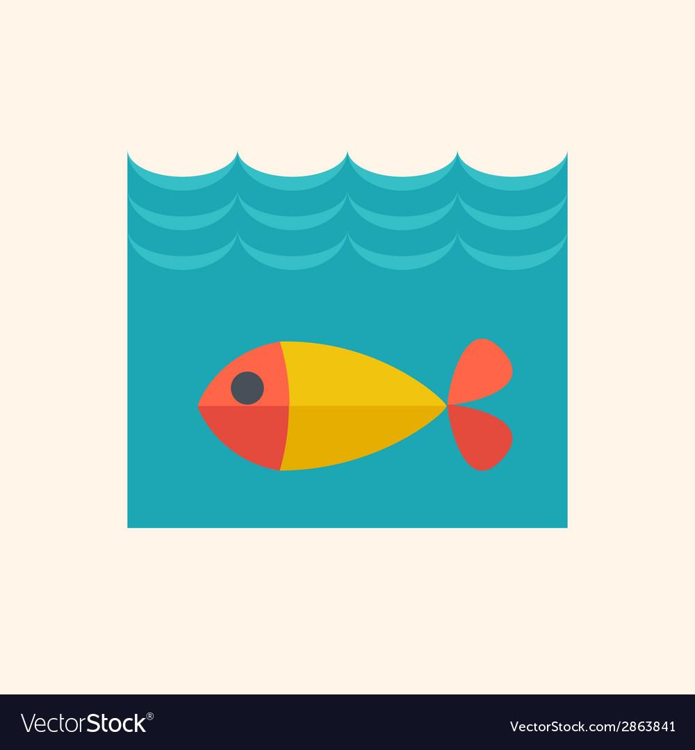 Fish flat icon vector | Price: 1 Credit (USD $1)