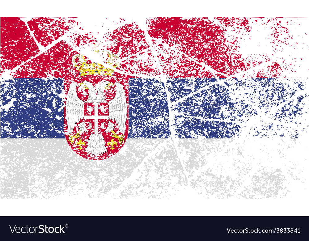 Flag of serbia with old texture vector | Price: 1 Credit (USD $1)