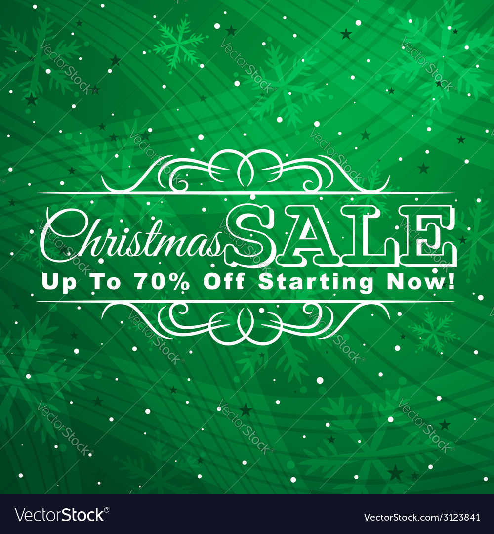 Green christmas background with label for sale vector | Price: 1 Credit (USD $1)
