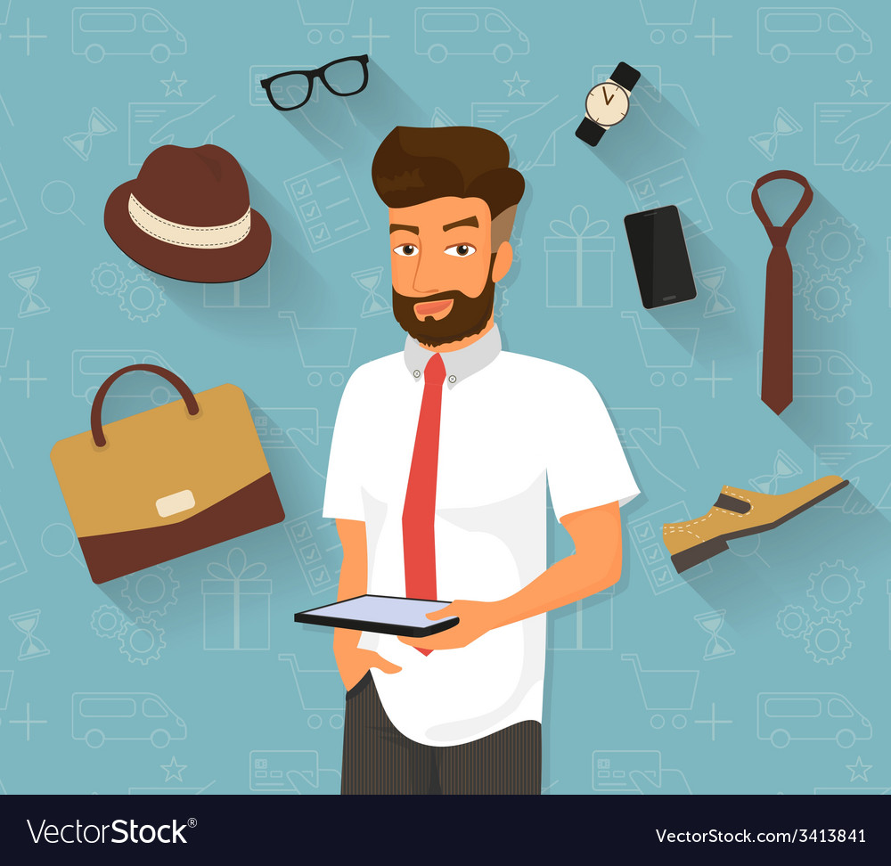 Handsome man doing online shopping vector | Price: 1 Credit (USD $1)