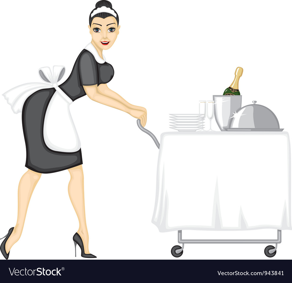 Maid brings lunch vector | Price: 3 Credit (USD $3)
