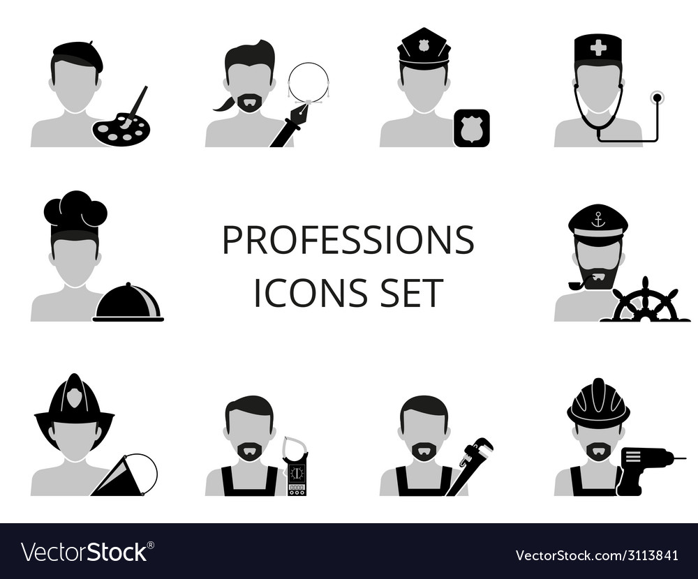 Professions icons set vector | Price: 1 Credit (USD $1)