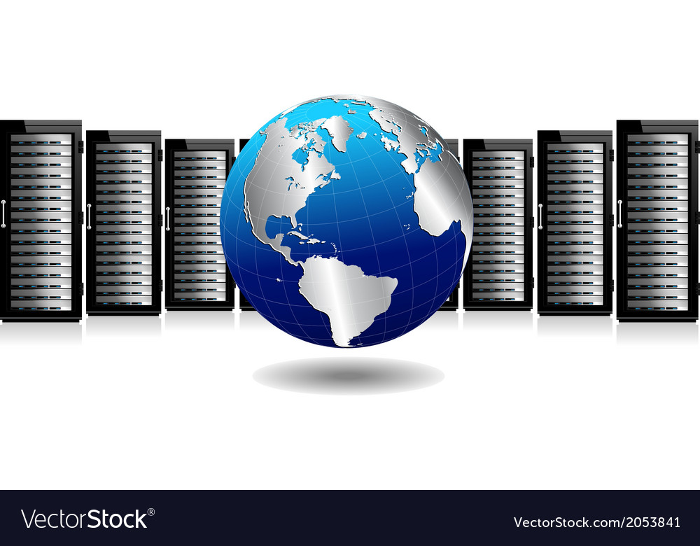 Servers with silver globe vector | Price: 1 Credit (USD $1)