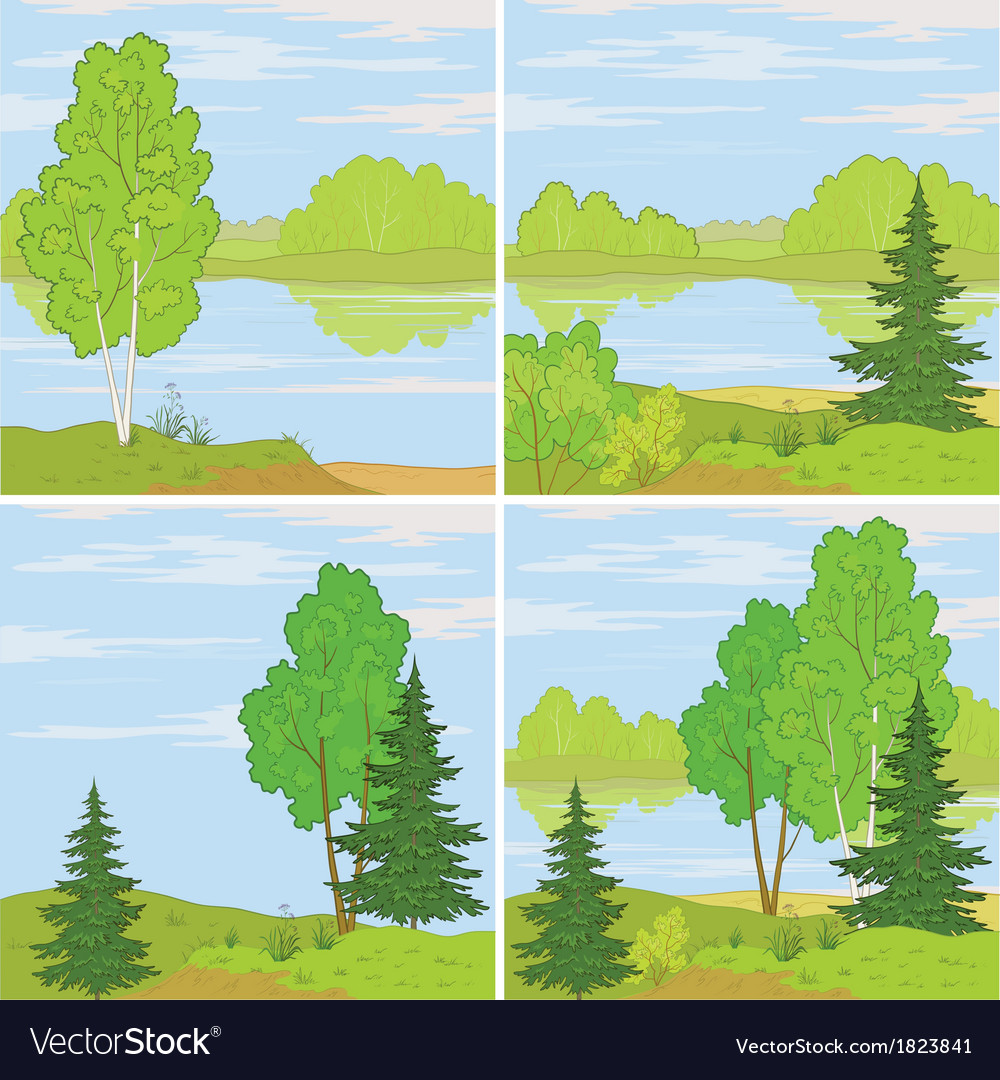 Set forest landscapes vector | Price: 1 Credit (USD $1)