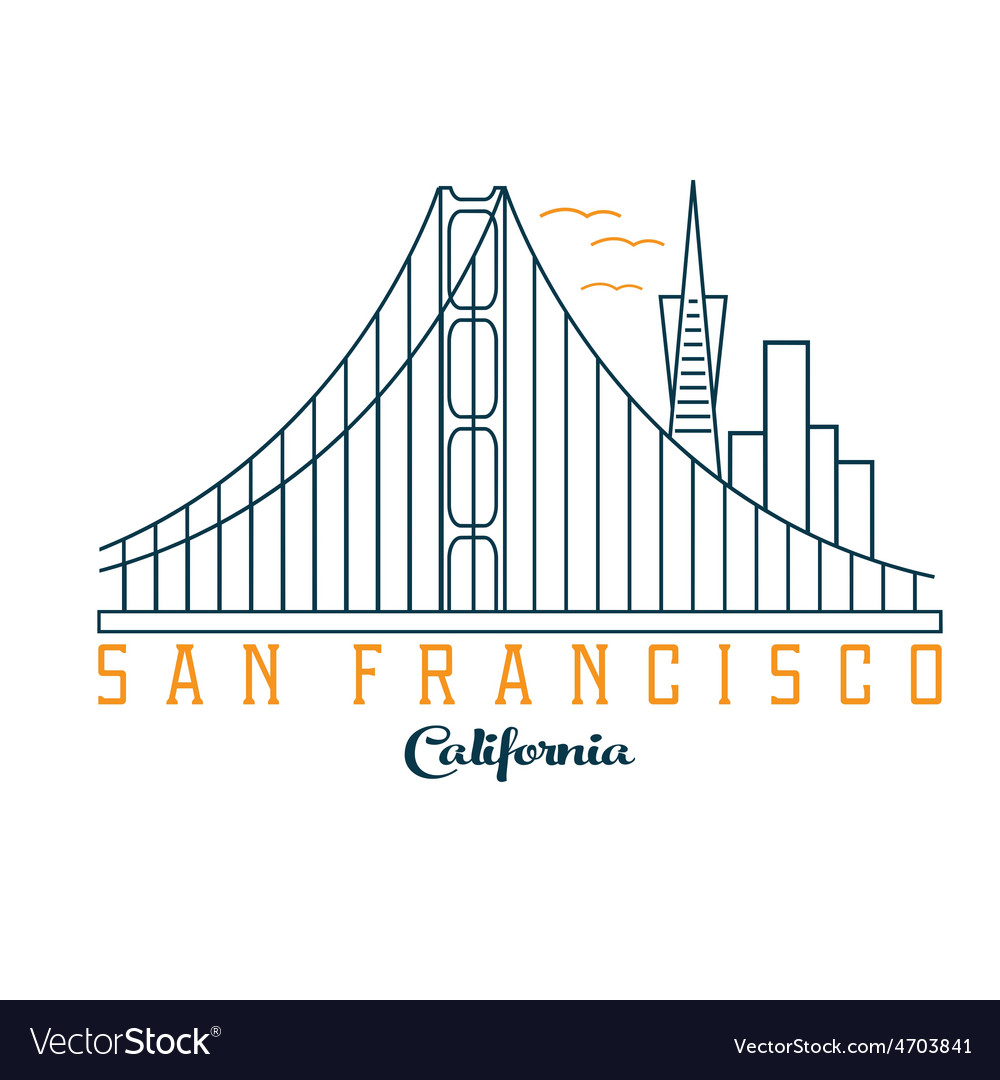 Skyline of san francisco design template vector | Price: 1 Credit (USD $1)