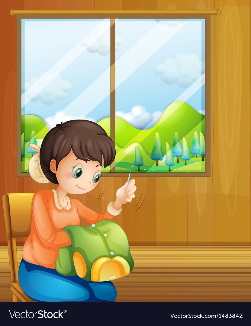 A lady sewing inside the house near the window vector   Price: 1 Credit (USD $1)