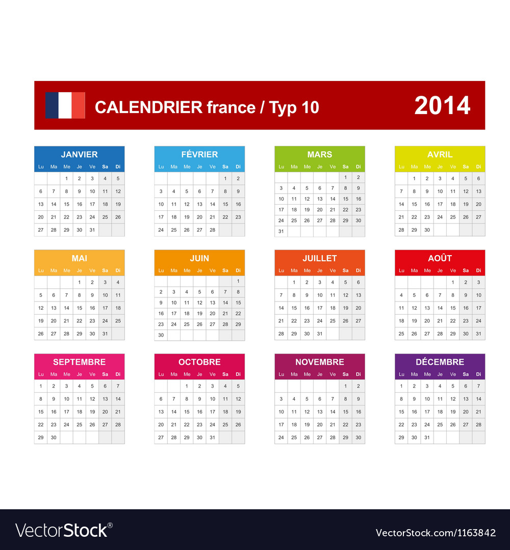 Calendar 2014 french type 10 vector | Price: 1 Credit (USD $1)